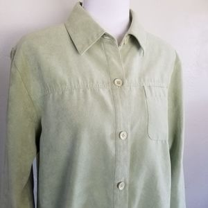 Relativity light green faux suede button up shirt
